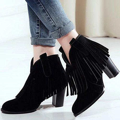 Damen High Heels Blockabsatz Stiefeletten mit Fransen und 8cm Absatz Klassischer Stiefel Aiyoumei yr3aJ