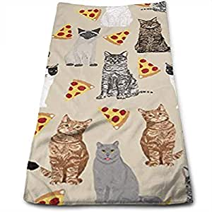 cute cats with pizzas 100 cotton towels ultra soft absorbent bathroom towels. Black Bedroom Furniture Sets. Home Design Ideas
