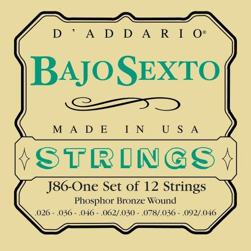 D'Addario J86 Phosphor Bronze Bajo Sexto Strings, Loop End, (Bajo Sexto Guitar String)