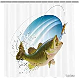 Bass Fishing Shower Curtain Amoy Lefan Fishing Decor Shower Curtain, Largemouth Sea Bass Catching a Bite in Water Spray Motion Splash Wild Image, Fabric Bathroom Decor Set with Hooks, 72 Inches, Green Blue
