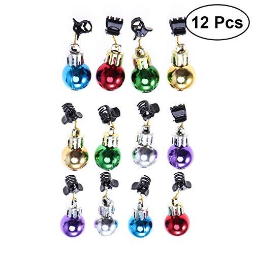 (Frcolor 12Pcs Shine Christmas Ball Beard Clip Santa Beard Clip fot Men(Multi Color))