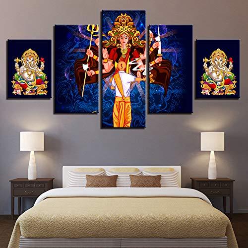 dhkawja Canvas Prints Painting Home Decor 5 Pieces dess Durga Puja Pictures Ganesha Cartoon Poster Modular Living Room Wall Art Frame-40x60cmx2 40x80cmx2 40x100cmx1 ()