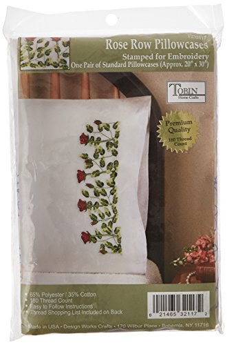 Tobin Stamped Pillowcase Pair Stamped Cross Stitch Kit for Embroidery, 20 by 30-Inch, Rose Row