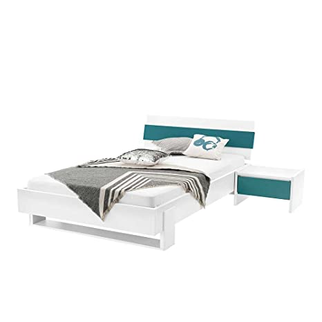 Pharao24 Jugendbett Und Nachttisch In Weiß Petrol Modern