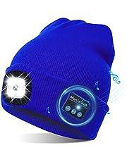 TAGVO USB led-muts met bluetooth 5.0 muts, geïntegreerde stereoluidspreker & microfoon, warm gebreide verlichting, draadloze bluetooth-headset, muziekhoed voor hardlopen, wandelen, heren en dames