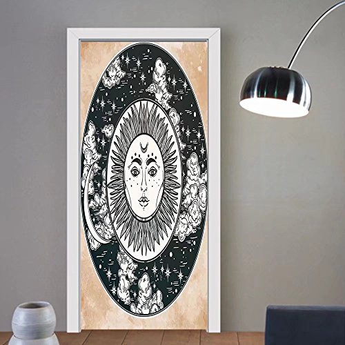 Gzhihine custom made 3d door stickers Mystic House Decor Ethnic Sun Face In A Circle Motif Esoteric Inner Power Of The Cosmos Theme Decor Black White Cream For Room Decor 30x79 by Gzhihine (Image #6)