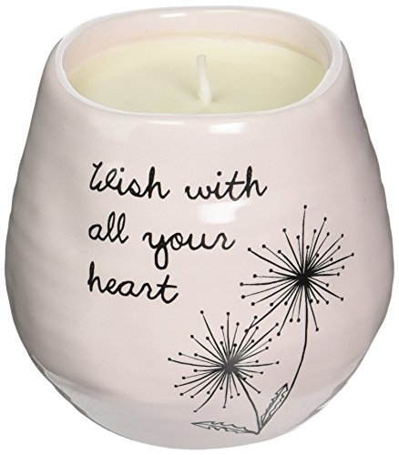 Pavilion Gift Company Plain Dandelion Wish with All Your Heart Pink Ceramic Soy Serenity Scented -