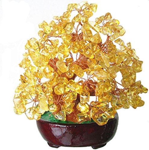 INK WASH 6.3 Inch Feng Shui Money Tree Natural Yellow Crystal Aventurine Quartz Gem Stone Money Tree Products+ Set of 10 Lucky Charm Ancient Coins on Red String,Good Luck Decoration