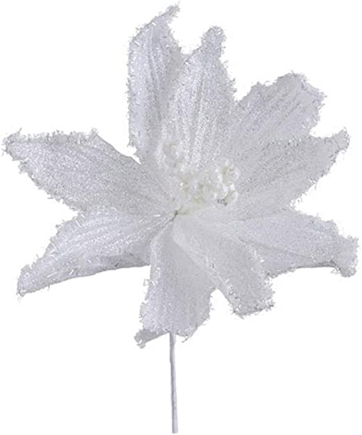 16cm Pink or White Frosted Velvet Poinsettia Christmas Tree Decoration Clip