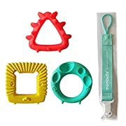 Mombella educational sensory teether toy set infant toy infant gift set with a pacifier clip/holder, BPA free natural organic freezer and dishwasher safe silicone teethers for sore gum pain relief 3pc