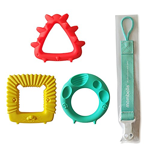 Mombella educational sensory teether toy set infant toy infant gift set with a pacifier clip/holder, BPA free natural organic freezer and dishwasher safe silicone teethers for sore gum pain relief 3pc by Mombella