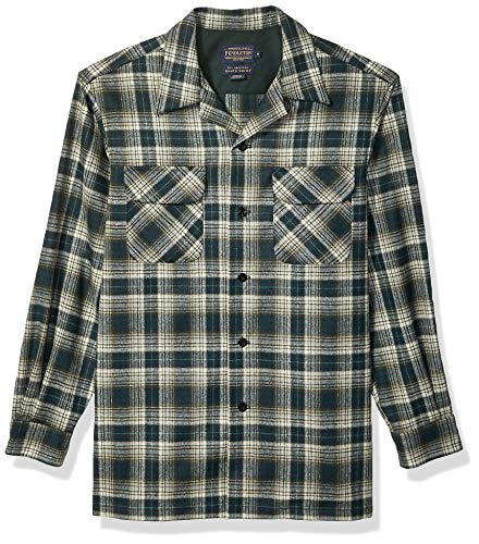Pendleton Men's Long Sleeve Classic-fit Board Shirt, Green Ombre, MD