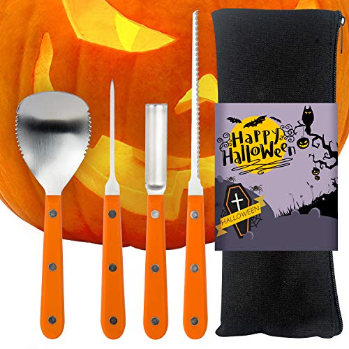 SIMILKY Professional Halloween Pumpkin Carving Tools Kit Heavy Duty Stainless Steel Jack-O-Lantern Halloween- (4 -