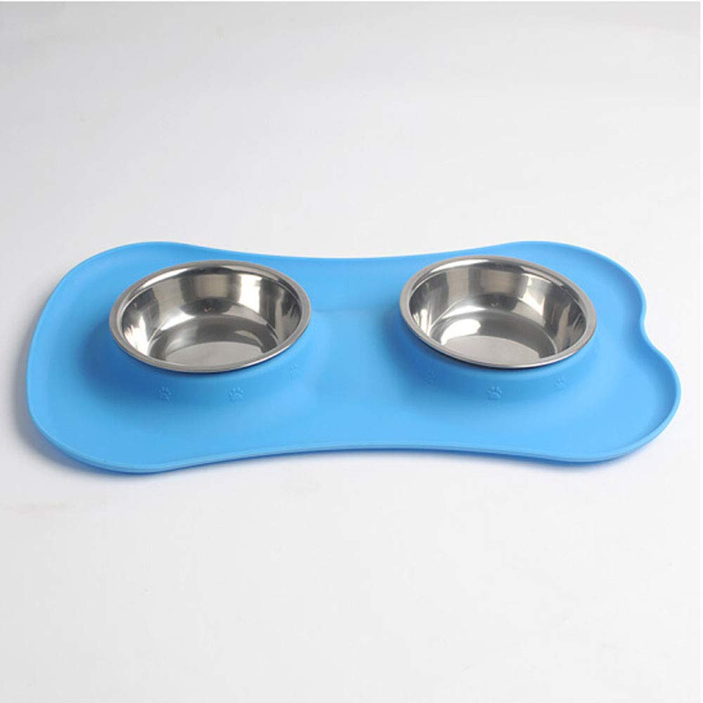 bluee 1481.6 bluee 1481.6 XIAN Non Spill Dog Bowl,Large Dog Bowl and Pad Set Detachable Stainless Steel Bowl Set Stylish Without Chaos, No Spill, Non-Slip, Silicone Pad. Food and Water Bowl for Medium and Large Dogs Easy to