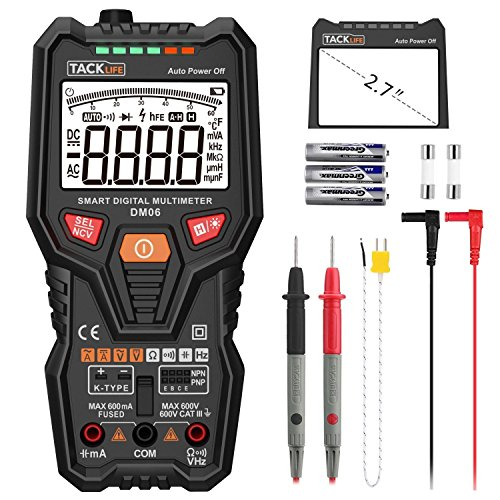 Multimerter, DM06 TRMS 6000 Counts Tester Auto-Ranging Electronic Amp Volt Ohm Voltage Meter Multimeter with Frequency, Temperature, Transistor, Continuity Test Tester by TACKLIFE