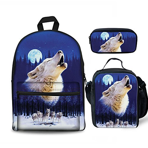 FOR U DESIGNS Cool School Backpack for Boys Crying Wolf Backpack Set 3 Pieces with Lunchbox Pencilcase