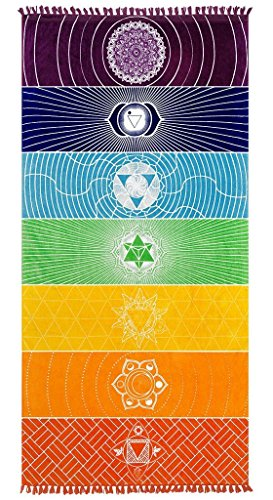 Poshfeel Single Yoga Towels with Tassels Rainbow Chakra Tapestry Stripes Yoga Mats Beach Towel Style 1