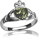 Best Ian and Valeri Friend Rings Sterling Silvers - Green Amber Sterling Silver Claddagh Promise Friendship Ring Review