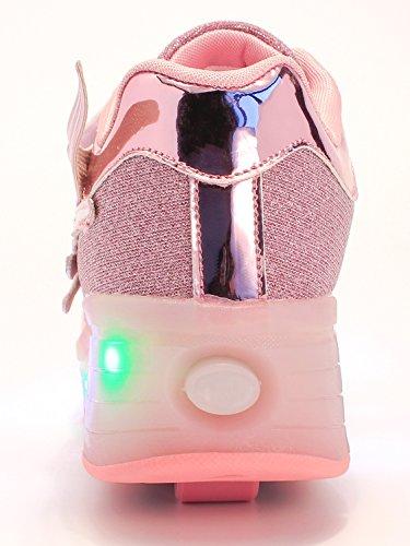 Mr.Ang SkateSchuhe mit LED 7 Farbe Farbwechsel Lichter blinken Räder SchuheTurnschuhe Jungen und Mädchen Flügel-Art Rollen Verstellbare neutral Kuli Rollschuh Schuhe k03 Rosa