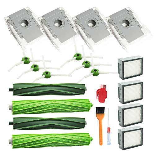 EZ 스페어 로봇 Roomba I7, I7 +, E5, E6, E7, 로봇 청소기에 부착 키트 (2 세트 롤러 브러쉬 + 6 개의 사이드 브러쉬 + 4 개의 フィルタ?ヘパ + 4 개의 먼지 봉투)에 대 한 교체 부품 / EZ Spare Robot Roomba I7, I7 +, E5, E6, E7, Replacement P...