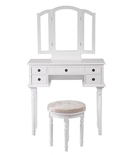 Makeup Vanity Table Set Tri Folding Mirror Makeup Table With 5 Drawers