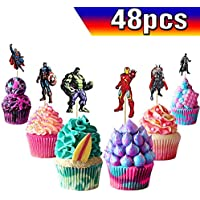 Toppers Superhero Cupcake Toppers Avengers Cupcake Toppers Superhero Cake Toppers 50PCS, Superhero Happy Birthday Party Supplies Cake Decorations for Superhero Fans, Kids Birthday Party