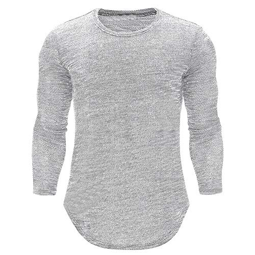 ◕‿◕ Toponly Personality Mens O Neck Casual Slim Long Sleeve Shirt Top Blouse