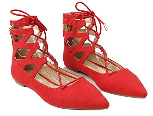 Vrouwen Lace Up Uitgesneden Enkel Manchet Jurk Ballet Flats Rood Suede