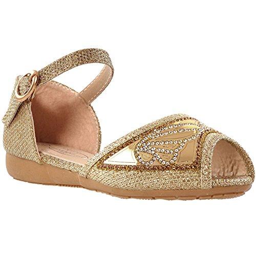 Buckle Accent Ballet Flats (Generation Y Kids Ballet Flats Peep Toe Buckle Strap Glitter Girls Dress Sandals Gold SZ 1)