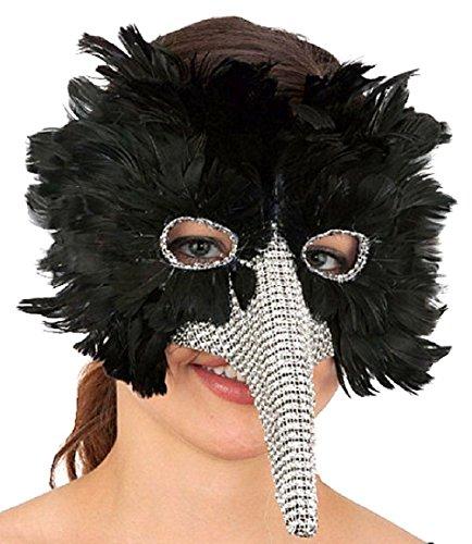 Exotic Venetian Witch Mask (Venetian Black Feather Bird Masquerade Mask Long Nose Faux Rhinestones Costume)