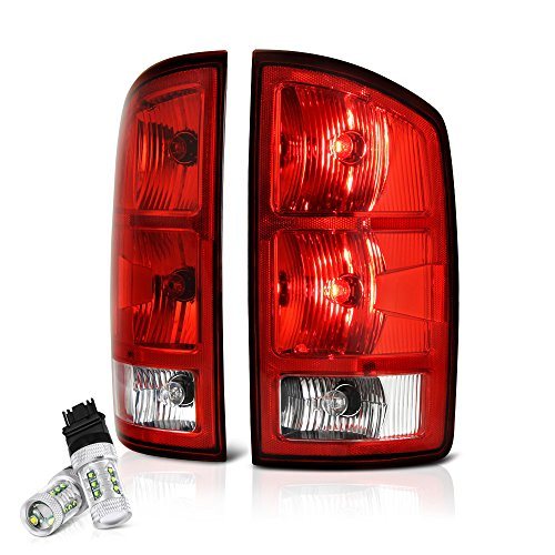 VIPMOTOZ OE-Style Red Lens Tail Light Right Lamp Assembly w/Circuit Board For 2002-2006 Dodge RAM 1500 2500 3500 Pickup Truck - CREE LED Backup Bulbs Included, Driver & Passenger Side (2005 Dodge Ram Pickup 1500 Srt 10)