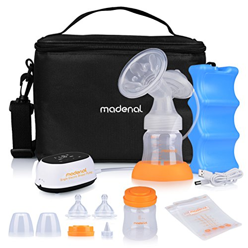 Purchase MADENAL Single Electric Breast Pump Travel Set, Ice Pack, Breastmilk Storage Bags, Super Quiet, Effective and Comfortable with On The Go Cooler Bag
