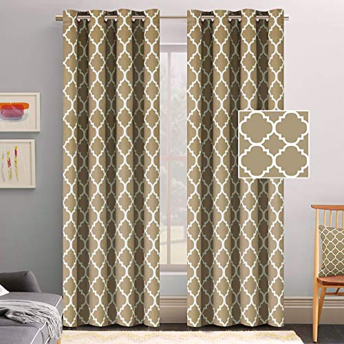 cking Moroccan Insulated Blackout Drapes Printed Window Curtains for Living Room, Grommet Top, Set of Two Panels, Each 84 by 52- Latte/Cappuccino ()