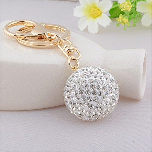 Golf Bag Keychain (Full Rhinestone Crystal Golf Ball Charm Pendant Purse Bag Keyring Key Chain (White))