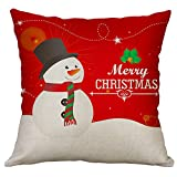 Pgojuni Linen Blend Christmas and Happy Year Throw Pillow Cover Decorative Cushion Cover Pillow Case1pc (45cm X 45cm) (D)