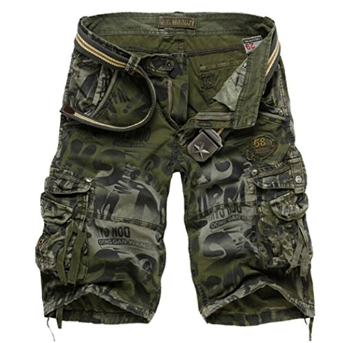HaDlin Mens Multi Pockets Cargo Shorts Relax Fit Camo Cotton Military Pants (US: 36 Size (Label 38), Army Green)