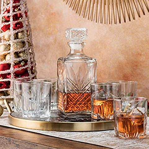 Paksh Novelty 7-Piece Italian Crafted Glass Decanter & Whisky Glasses Set, Elegant Whiskey Decanter with Ornate Stopper…