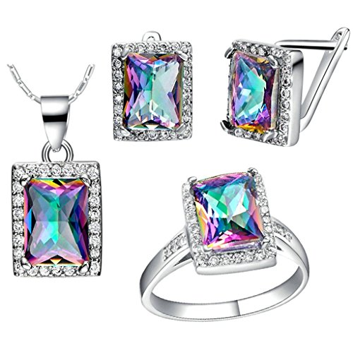 Green Arrow Tv Show Costume - KnBoB Jewelry Sets Women Silver Plated Rectangle CZ Crystal Ring Pendant Necklace Earrings Set Size 8