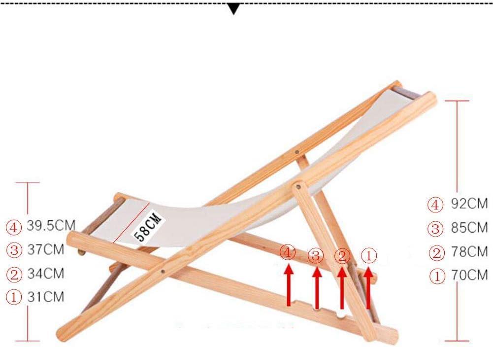 Unknow Chaises de Plage Pliantes inclinables, Chaise de Camping en Bois léger, Salon extérieur, Support réglable par gravité, Appui-tête portatif, 220 LB B
