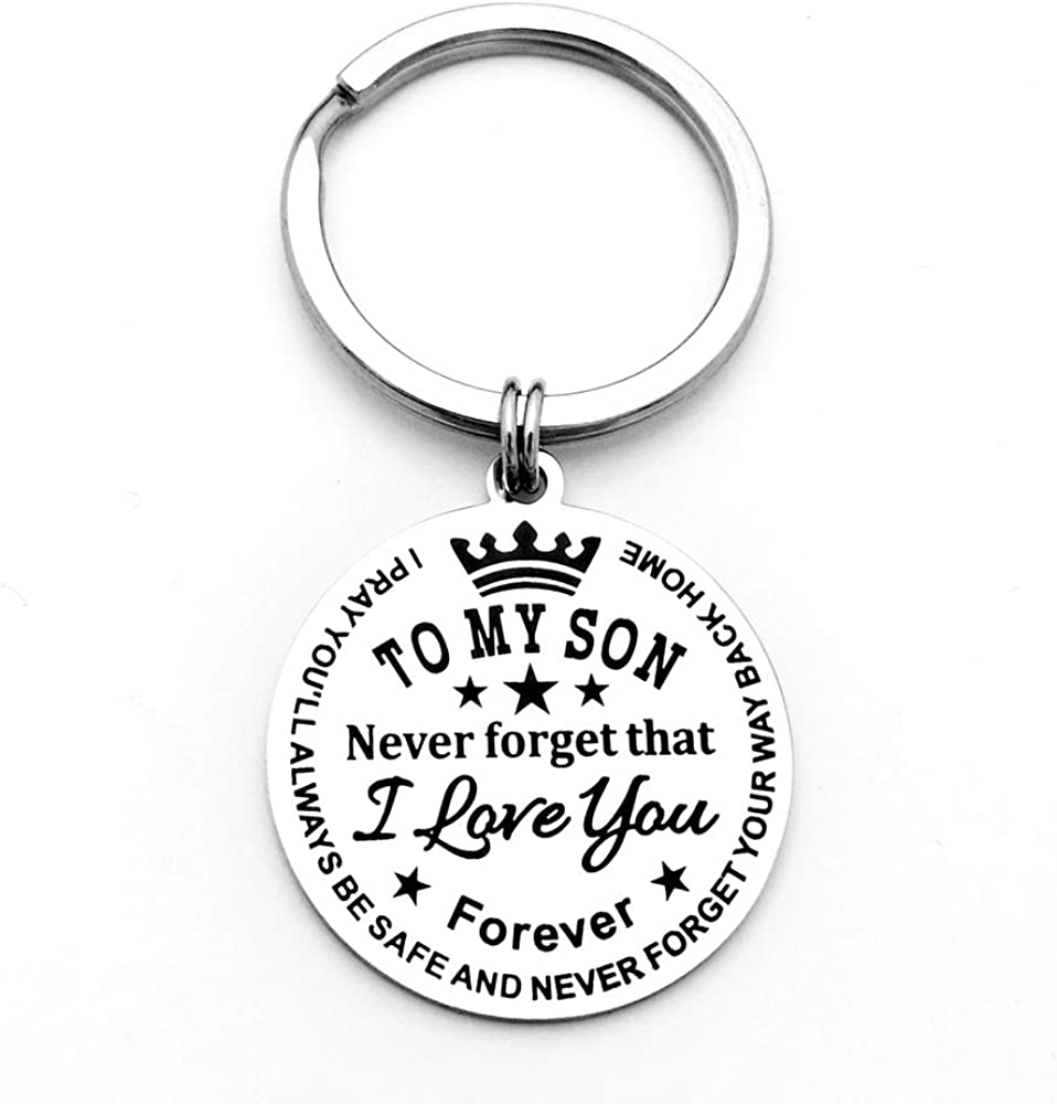 To My Son Daughter Keychain Never Forget That I Love You Forever Gift from Dad Mom