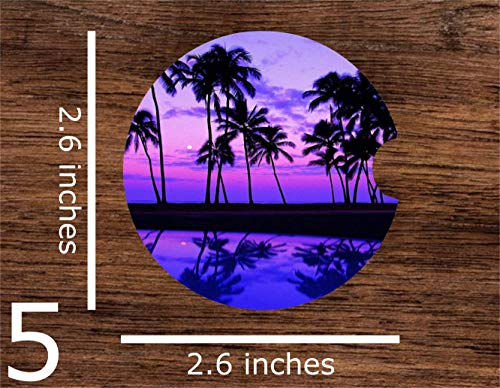 Holiday Coaster Set Tree - Tropical Sunset Palm Trees Peaceful Vacation Beach Print Sublimation Car Coaster Set (Includes 2 Car Coasters) Absorbent Matte Finish