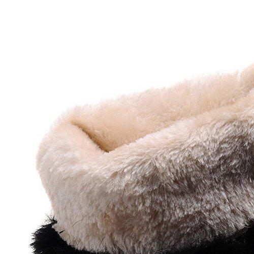 BalaMasa Womens High Heels Mid Top Solid PU Snow Boots Black e7wOGa