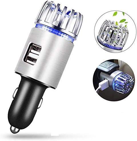 Purificador de Aire para Coche, Iónico Ionizador, Ambientador de Aire del Coche, con 2 Puertos de Carga USB, Eliminar Humo Olor Mal Olor, Mantiene el Aire en el Coche Fresco