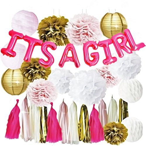 Pink and Gold Baby Shower Decorations | for a Girls Baby Shower | It's A Girl Balloon | Tissue Paper Pom Pom Flowers | Paper Lanterns | Paper Honeycomb Balls | Tissue Paper Tassel | Party Decorations
