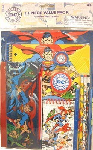 (Justice League Superman, Wonder Woman Batman Stationery Set 11 Pieces Value Pack 4+ Only)