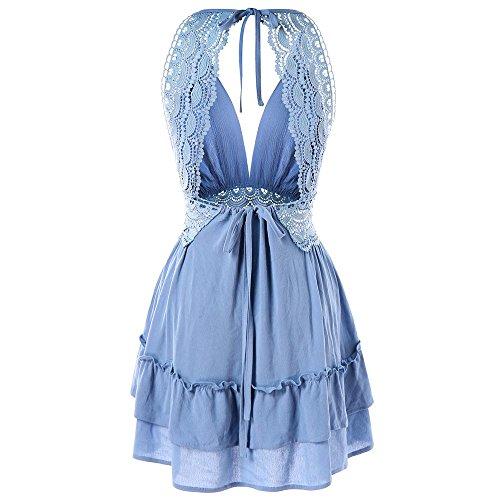V Mini Light Women's Neck Sleeveless Dress Blue Backless Skater Deep Crochet DEZZAL Lace Sky qtw8n18UP