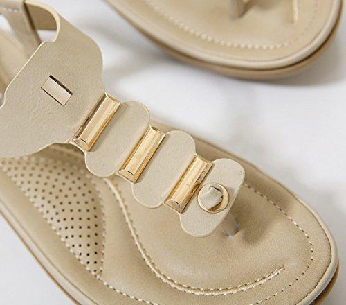 Ommda Women's Bohemian T Strap Thong Flat Sandals Apricot 7SoncHe