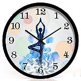 GuoEY Yoga Studio Weight-loss Practice Room Meditation Decoration Art Wall Clock Mute Hanging Table Black, Size : M