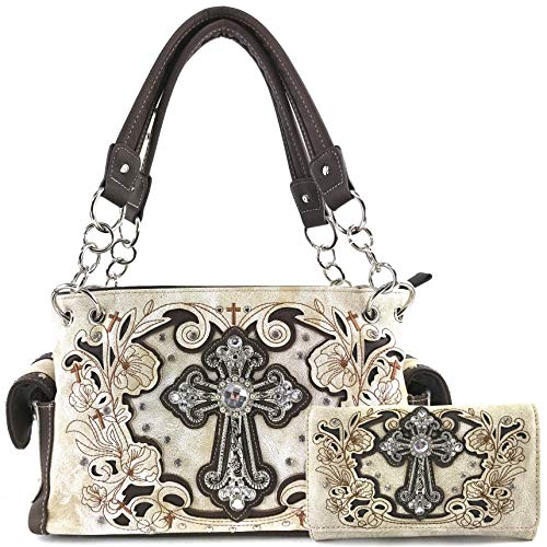 Justin West Embroidery Floral Glitter Bling Rhinestone Cross Shoulder Concealed Carry Handbag Purse Trifold Wallet (Beige Purse Wallet Set)