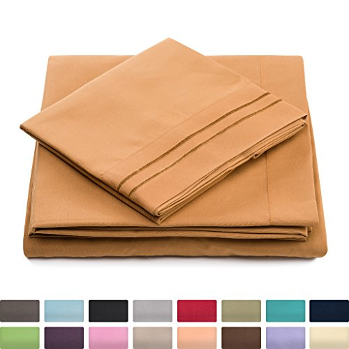 Cosy House Luxury Bed Sheets Set 4 Pc - Hypoallergenic & Wrinkle Resistant - Silky Soft 1500 Microfiber Fabric - Includes One Deep Pocket Fitted Sheet, Flat Sheet and 2 Pillowcases - Queen, Brown